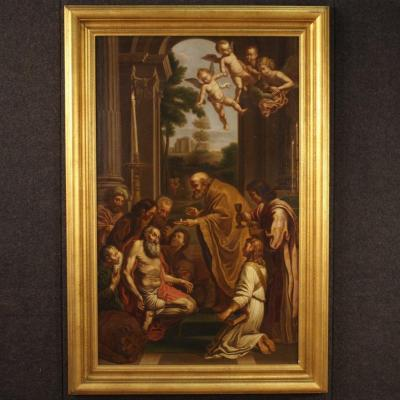 Antique Italian Religious Painting Saint Jerome From 19th Century