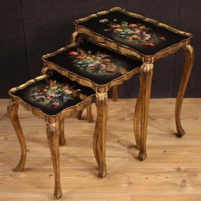 Triptych Of Italian Coffee Tables In Gilded And Painted Wood
