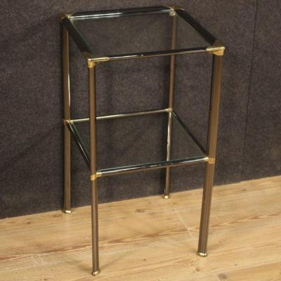 Italian Design Side Table In Metal And Glass