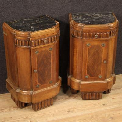 Pair Of Italian Art Deco Bedside Tables
