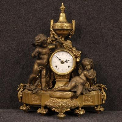 French Clock In Gilt Bronze And Antimony