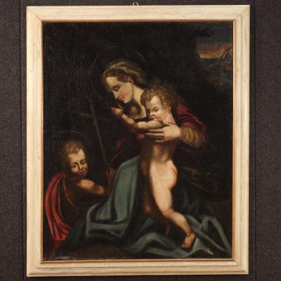 Antique Italian Religious Painting Virgin With Child And Saint John From 18th Century