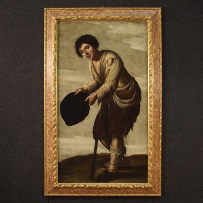 Antique Italian Painting Beggar From 18th Century