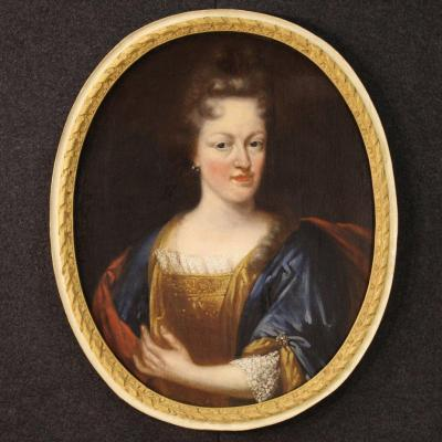 Antique French Painting Portrait Of A Noble Lady From 18th Century