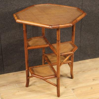 Spanish Design Side Table In Bamboo Wood