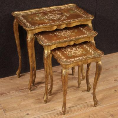 Triptych Florentine Coffee Tables In Gilded Wood