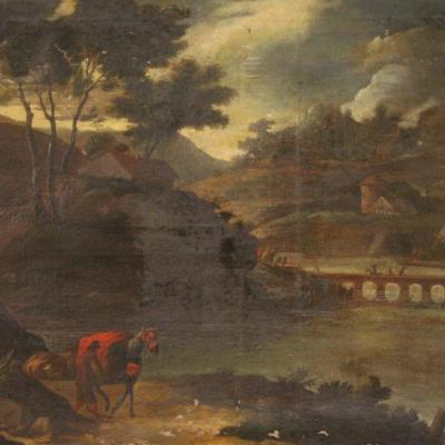 Antique Italian Landscape Painting From 18th Century
