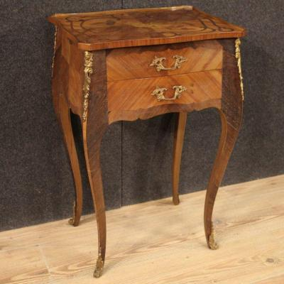 French Side Table Inlaid In Walnut, Rosewood, Palisander And Fruitwood