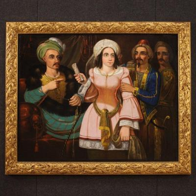 Antique Italian Painting Oriental Scene With Characters From 19th Century