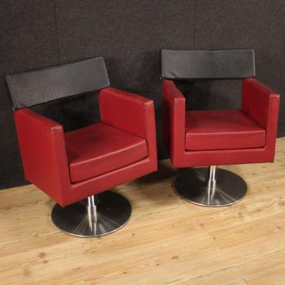 Pair Of Italian Design Armchairs In Faux Leather