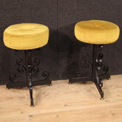 Pair Of Italian Iron Stools With Velvet Seats
