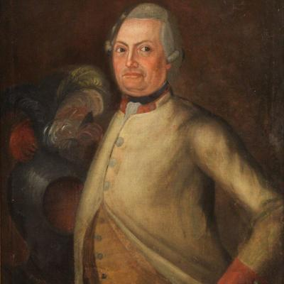 Antique German Portrait Painting From 18th Century