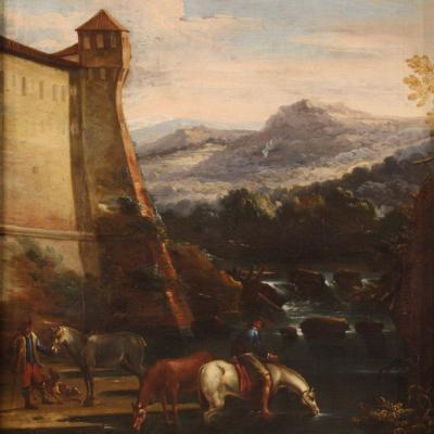 Antique Italian Landscape Painting From The 17th Century