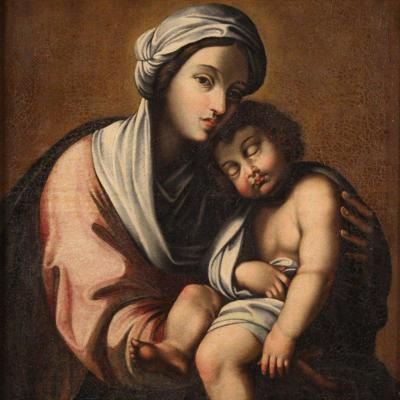 Antique Italian Painting Virgin With Child From 18th Century