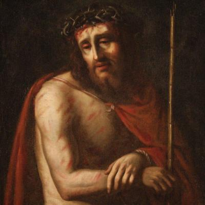 Antique Ecce Homo Painting From The 18th Century