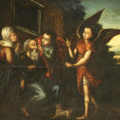 Antique Religious Panel Painting From The 17th Century