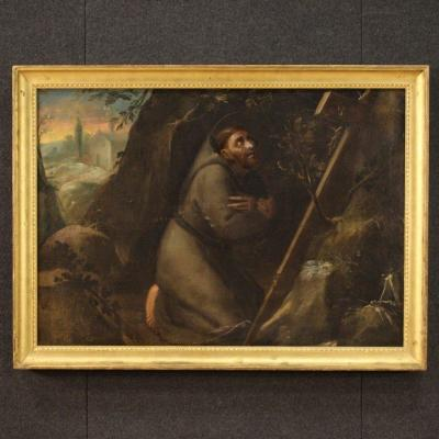 Antique Painting Saint Francis From The 18th Century