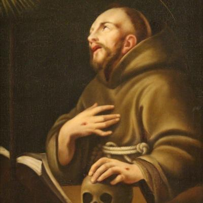 Antique Painting Of Saint Francis Of Assisi From The 18th Century