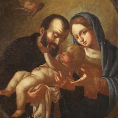 Antique Painting Holy Family From The 18th Century