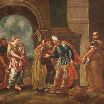 """Antique Painting From The 18th Century """"judgment Of Susanna"""""""