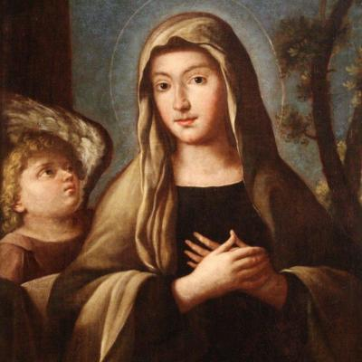 "Ancient Painting ""santa Francesca Romana"" From The 18th Century"