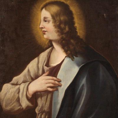 Antique Religious Painting From The 18th Century, Bust Of A Saint