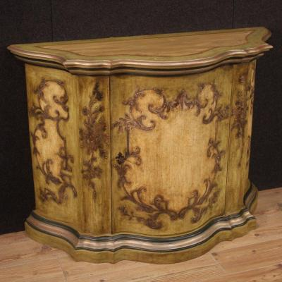 Large Venetian Sideboard In Lacquered And Painted Wood