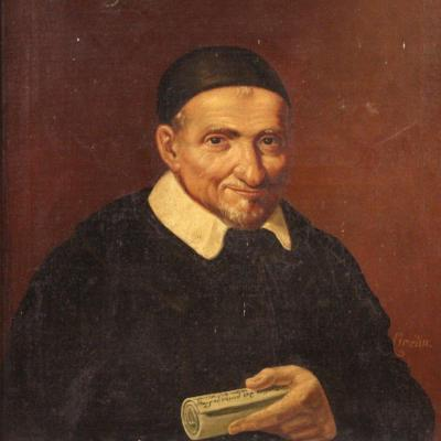 Portrait Of Saint Vincent De Paul Painting From The Second Half Of The 19th Century