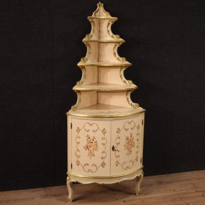 Italian Lacquered, Gilded And Painted Corner Cabinet