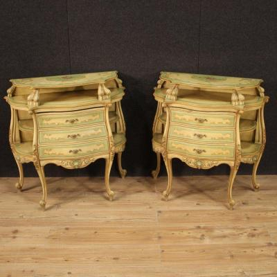 Pair Of Lacquered, Gilded And Painted Venetian Sideboards