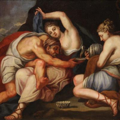 Lot And His Daughters, Antique Painting From The 17th Century