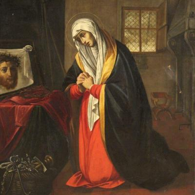 "Large Antique Painting From The 17th Century ""saint Veronica"""