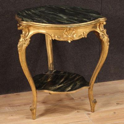 Table Basse De Salon Dorée Et Laquée Faux Marbre