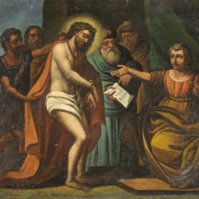Christ Devant Pilate, Tableau Du 17ème Siècle