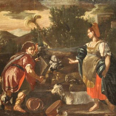 Rachel Et Jacob Au Puits, Tableau Du 18ème Siècle