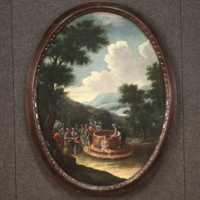 Ancien Tableau Ovale Du 18ème Siècle