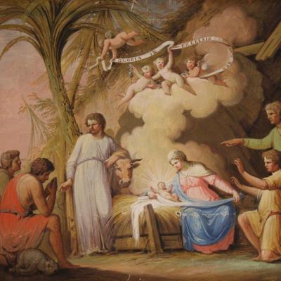 Ancien Tableau Religieux Adoration Des Bergers Du 19ème Siècle
