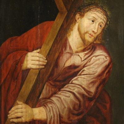 """Ancient Panel From The 17th Century """"christ Carrying The Cross"""""""