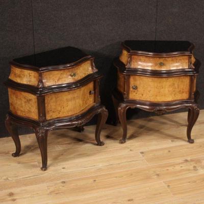 Belle Paire De Tables De Chevet Vintage