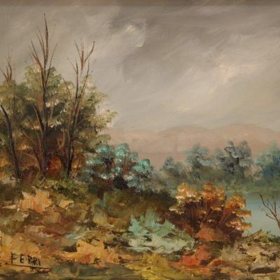 Petit Paysage Impressionniste Signé E. Ferri