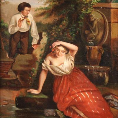 Petit Tableau Romantique Du 19ème Siècle