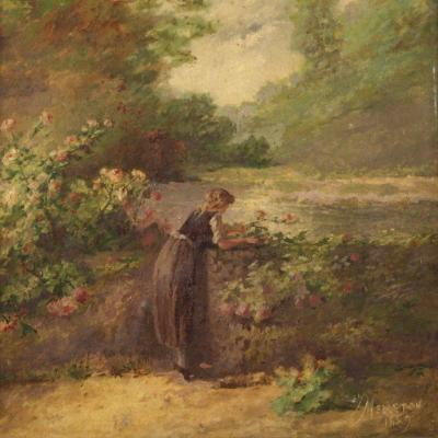 French Painting Signed Romantic Landscape Dated 1889
