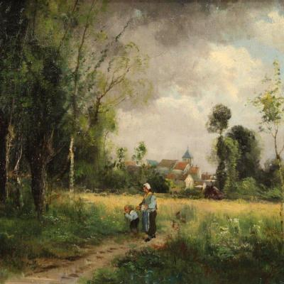 French Painting Countryside Landscape With Characters From 19th Century