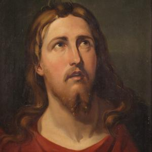 Antique Italian Religious Painting Of The Face Of Christ From 19th Century