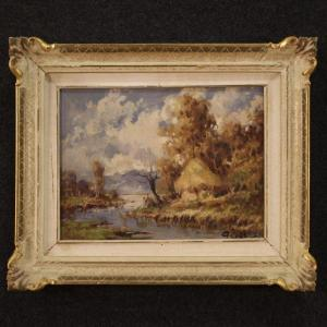 French Signed Landscape Painting In Impressionist Style
