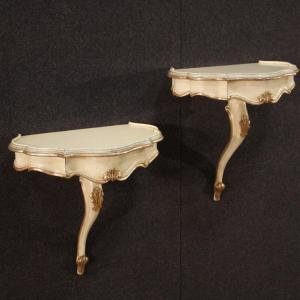 Pair Of Venetian Lacquered And Silvered Nightstands