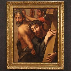 Antique Italian Religious Painting Christ Carrying The Cross From 17th Century