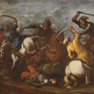 Antique German Battle Painting From 17th Century