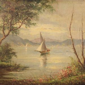 French Signed Painting View Of The Lake With Boats