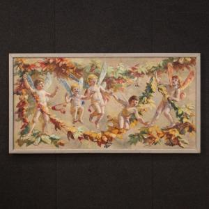 Italian Painting Naif Games Of Winged Children Oil On Canvas